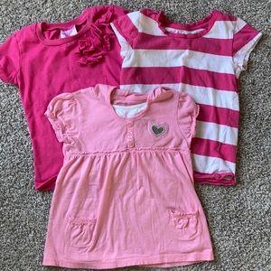 Set of little girl pink shirts